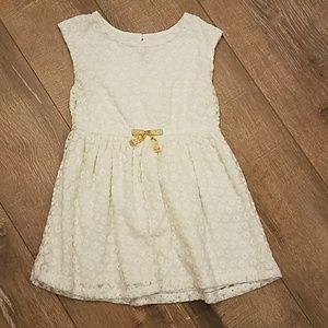Cherokee Girls Cream Dress Floral Mesh 3T